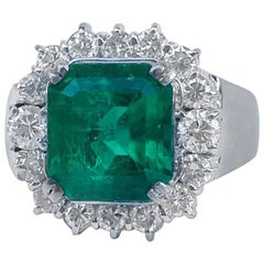No Oil 'Untreated' Natural Green Emerald Diamond Cocktail Ring