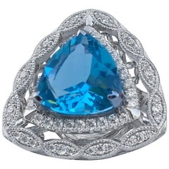 Bespoke Triangle Cut Topaz Cocktail Ring
