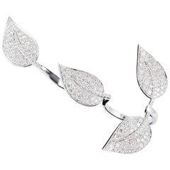 SAM.SAAB Leaf Motif Diamond and White Gold Ring