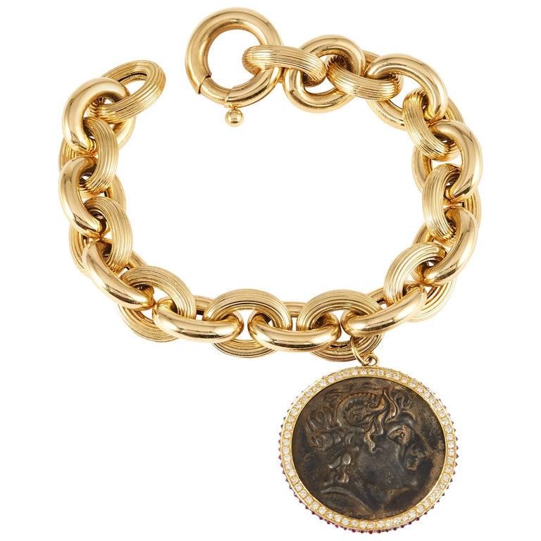 SAM.SAAB Roman Coin Bracelet and Yellow Gold Chain