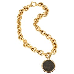 SAM.SAAB Roman Coin and Yellow Gold Necklace