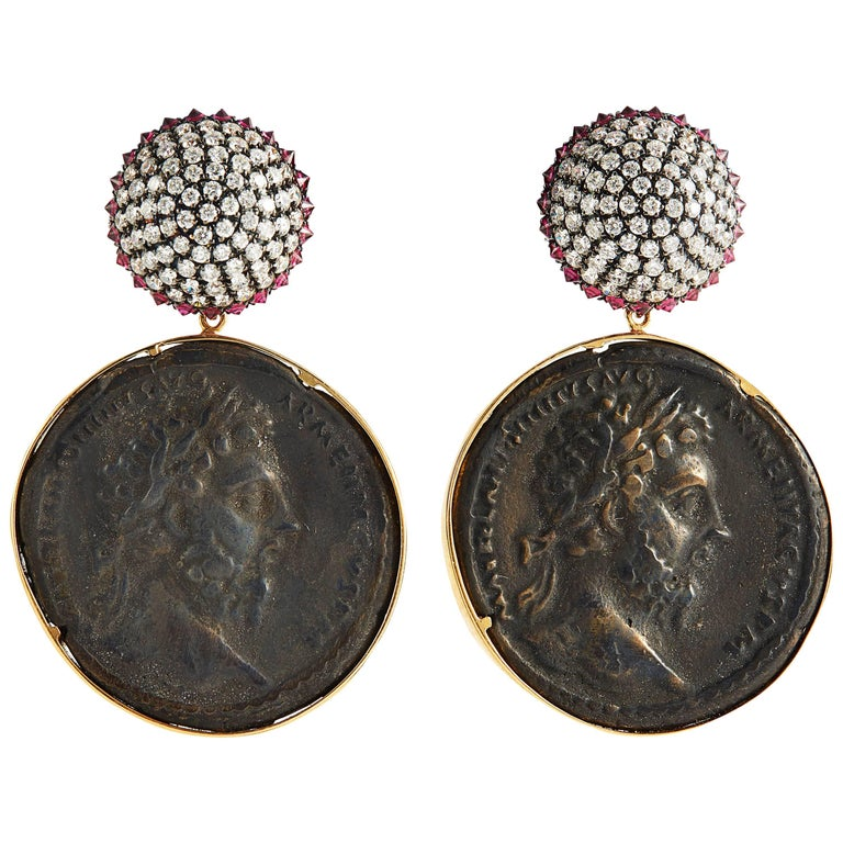 SAM.SAAB Roman Coin and White Diamond Yellow Gold Earrings