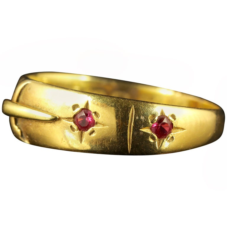 Antique Edwardian 18 Carat Yellow Gold Ruby Buckle Ring