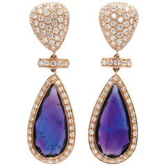 Amethyst and Diamond Rose Gold Drop Earrings by Monseo
