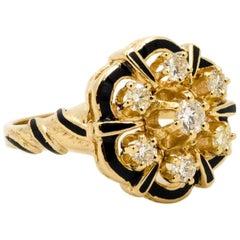 Diamond and Enamel 14 Karat Yellow Gold Ring