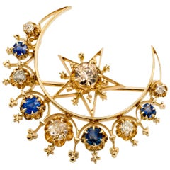 Classic Arabesque Sapphire, Diamond and Gold Moon Star Brooch