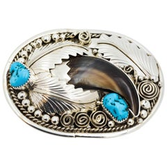 Native American Sterling Silver Turquoise and Bear Claw Belt Buckle