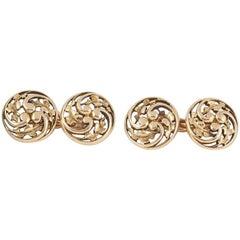 Antique Belle Epoque Wiese of Paris Gold Openwork Holly Leaf Cufflinks
