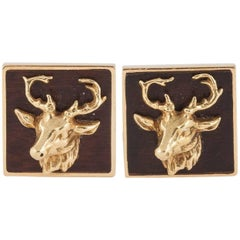 Bry of Paris Gold Stag Cufflinks with Bog Oak Background