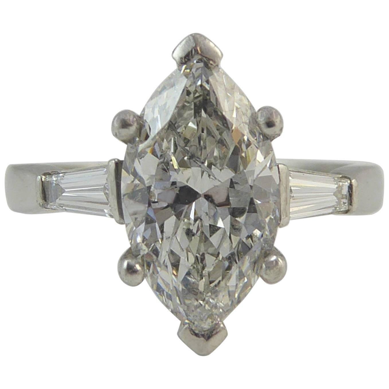 1.73 Carat Marquise Diamond Ring, Tapered Baguette Diamond Set Shoulders