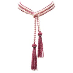 Pink Tourmaline, Pearl, Diamond and 18 Karat Gold Necklace by Deborah Lockhart