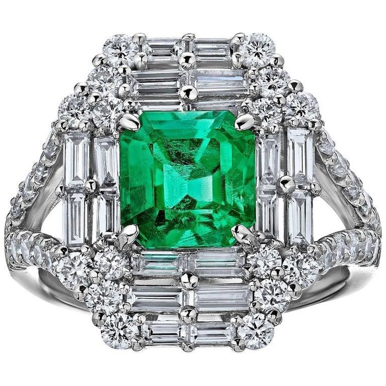 4.00 Carat Gem Perfection Colombian Emerald Diamond Platinum Ring