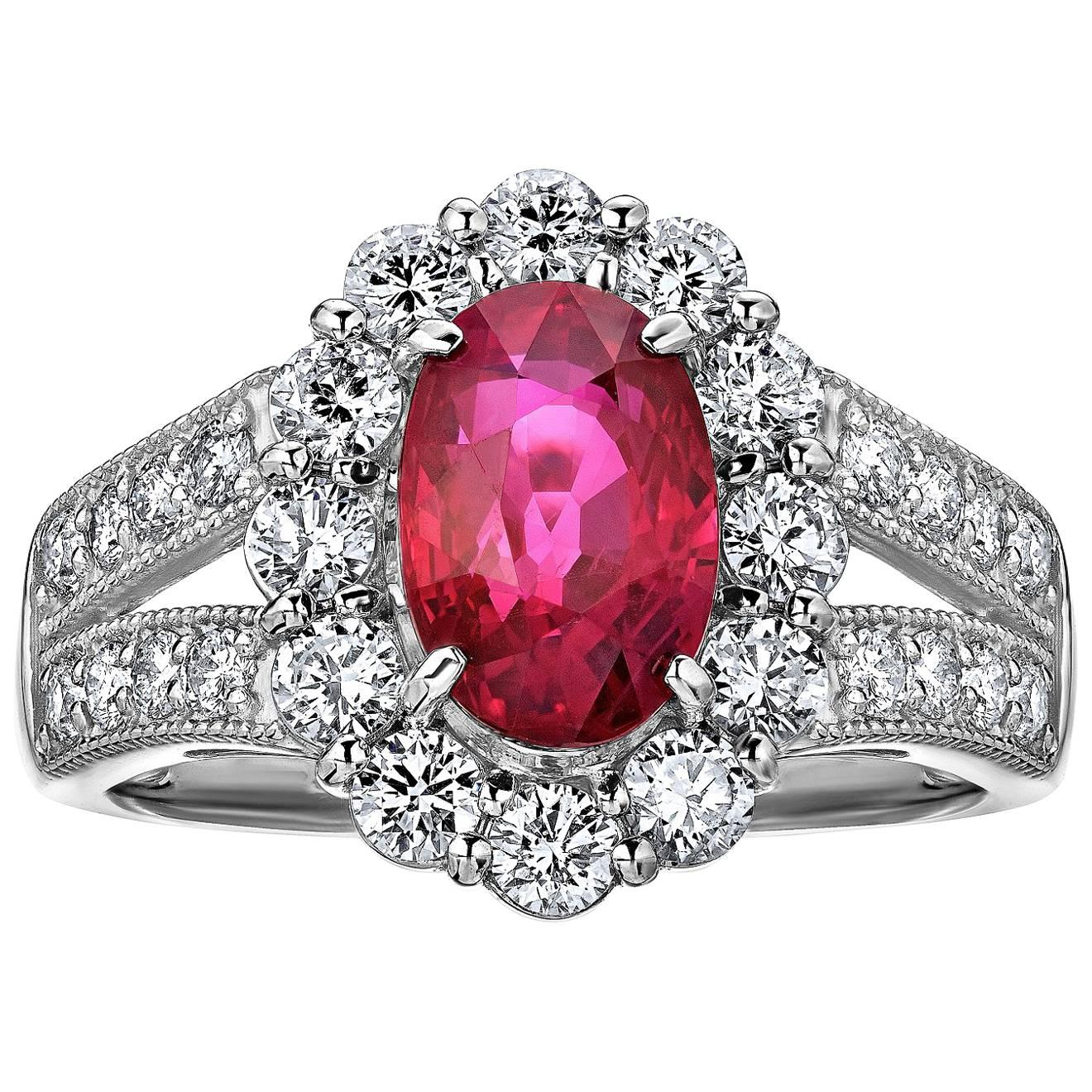 Emilio Jewelry Pigeons Blood Burmese Ruby Diamond Platinum Ring