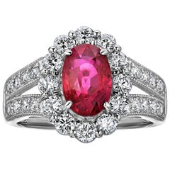 Pigeons Blood Burmese Ruby Diamond Platinum Ring