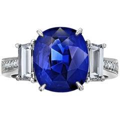 4.50 Carat Royal Blue Sapphire Diamond Ring