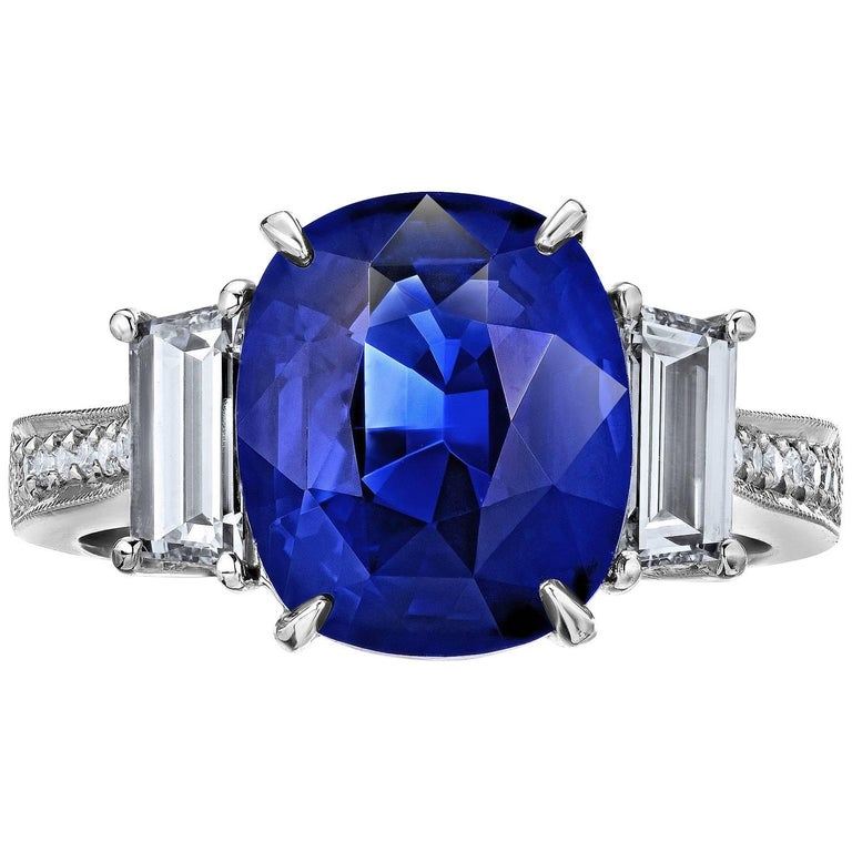 4.50 Carat Royal Blue Sapphire Diamond Ring For Sale