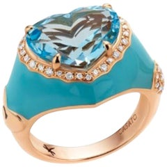 Blue Topaz Rose Gold Enameled Ring