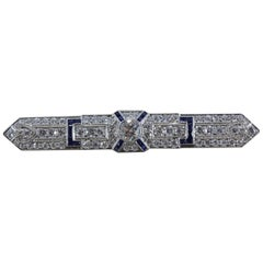 Art Deco Diamond Sapphire Platinum Bar Pin Brooch
