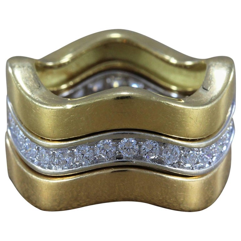 Cartier Diamond Gold Stackable Trinity Band Ring Set For Sale