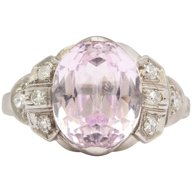 Pastel Pink Sapphire and Diamond Ring