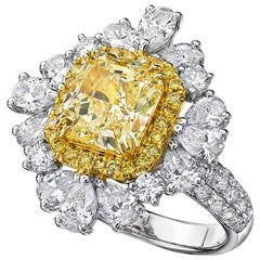 GIA Certified 2.84 Carat Fancy Yellow Cut-Cornered Rectangular Diamond Ring