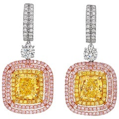 GIA Certified 2.04 and 2.29 Carat Fancy Yellow Cushion-Cut Diamond Earrings
