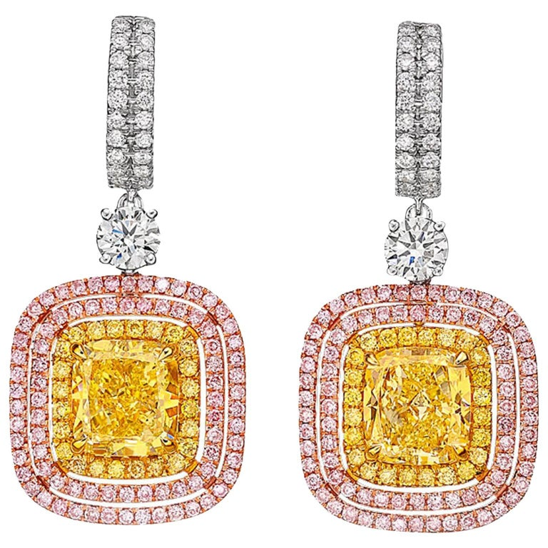 GIA Certified 2.04 and 2.29 Carat Fancy Yellow Cushion-Cut Diamond Earrings For Sale