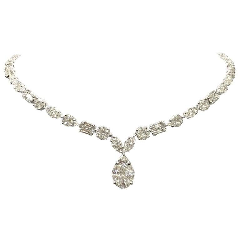 cf7bccbada1cb Mixed-Shape Illusion Diamond Tennis Necklace