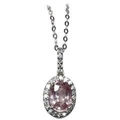 1.30 Carat Untreated Ceylon Pink Sapphire Diamond Cluster Pendant IGI Certified