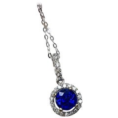 1.23 Carat Ceylon Blue Sapphire Diamond Cluster Halo Pendant 18 Karat White Gold