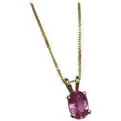 Untreated 1.00 Carat Ceylon Sapphire Pendant 18 Karat Gold IGI Certified
