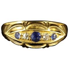 Edwardian Sapphire Diamond 18 Carat Gold Ring, 1915