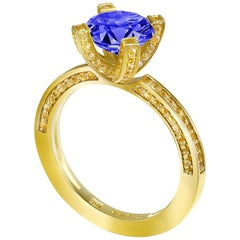Alex Soldier Tanzanite Garnet Yellow Gold Cocktail Engagement Ring One of a Kind