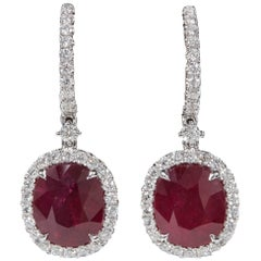 GIA Certified Ruby and Diamond Drop Earrings