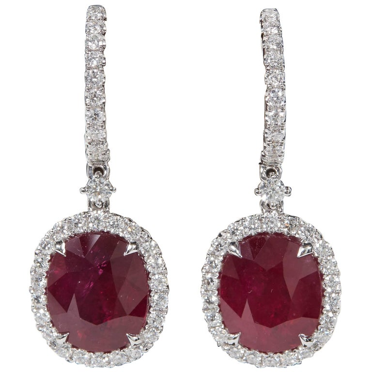 GIA Certified Ruby and Diamond Drop Earrings For Sale