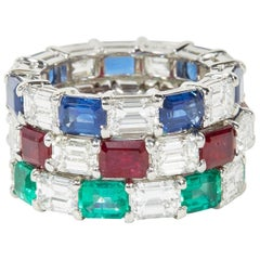 Emerald Sapphire Ruby and Diamond Emerald Cut Eternity Bands