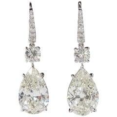 GIA Certified Pear Shape Diamond Drop Earrings