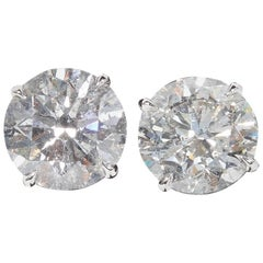 5 Carat Each Round Diamond Stud Earrings