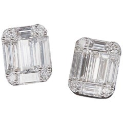 Emerald Cut Diamond Illusion Stud Earrings