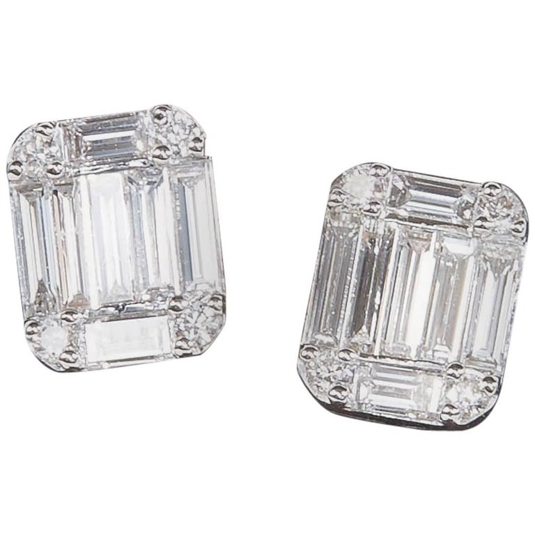 emerald cut stud earrings emerald cut illusion stud earrings for sale at 1stdibs 1330