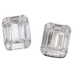 Emerald Cut Diamond Illusion Stud Earrings