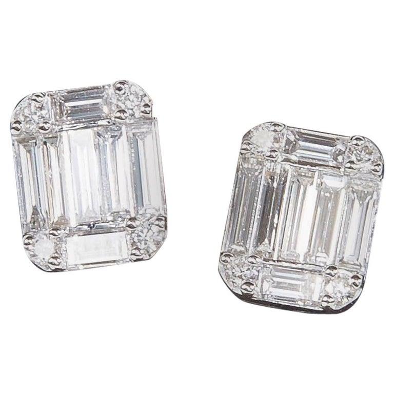 Emerald Cut Diamond Illusion Stud Earrings For Sale