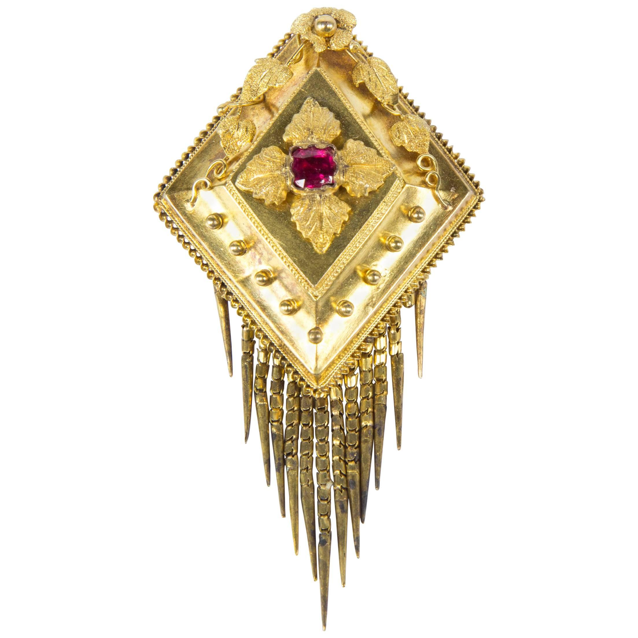 Antique Victorian Gold Mourning Tassel Brooch Pin Locket Estate Fine Jewelry
