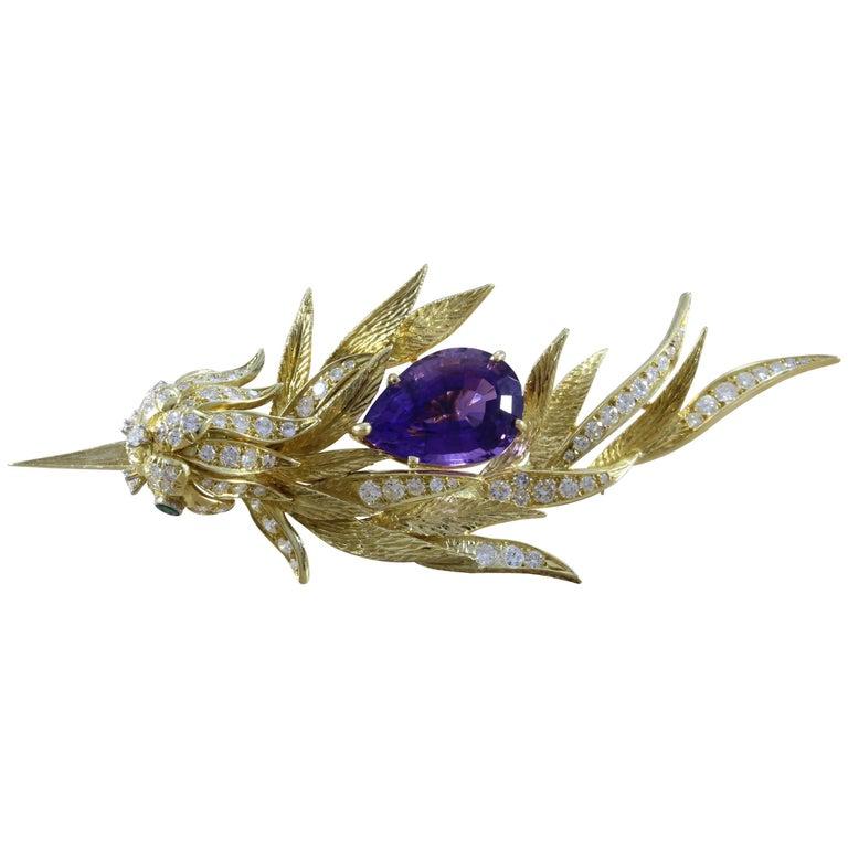Amethyst Diamond Emerald Gold Bird Brooch