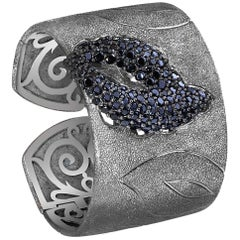 Alex Soldier Black Spinel Sterling Silver Platinum Textured Cuff Bracelet