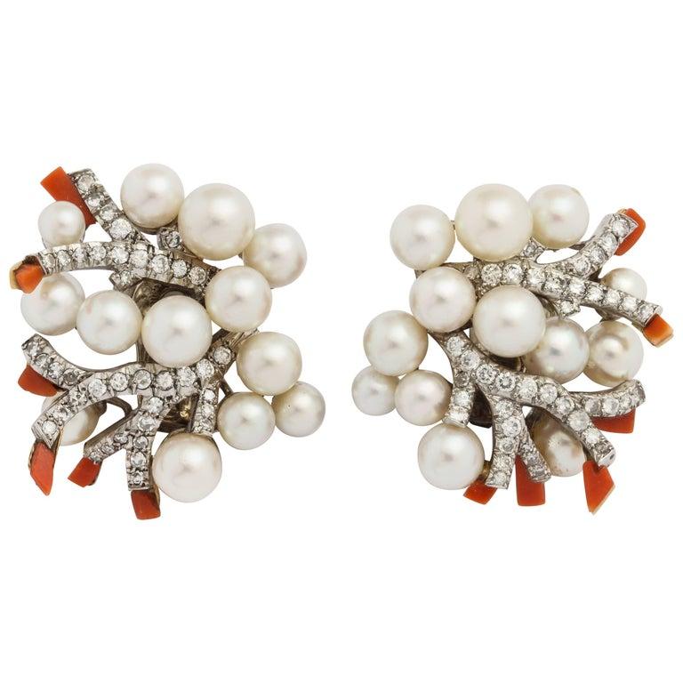 de Rothschild 1960s Verdura Paris Pearl Diamond Coral Earrings