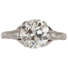 1910 Edwardian Platinum GIA Certified 2.35 Carat Diamond Engagement Ring