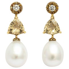 Donna Vock South Sea Cultured Pearl Drop, Golden Beryl and Diamond Earrings