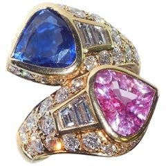 GIA Certified Pink and Blue Sapphire Ring with Diamonds