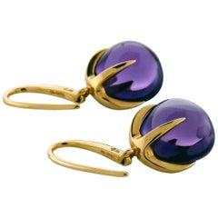 Amethyst 18 Karat Rose Gold Hook Dangle Earrings, Sign by Pomellato
